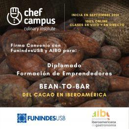 La AIBG firma convenio con Funindes USB y Chef Campus para impartir el Diplomado en Formación de Emprendedores del bean to bar del cacao en Iberoamérica